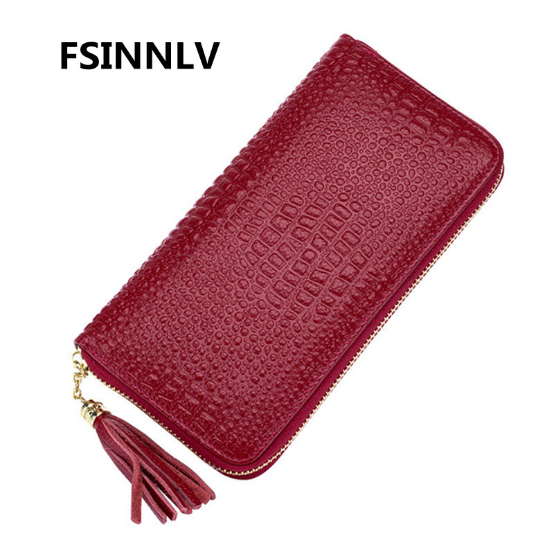 FSINNLV New Genuine Leather Wallet for Women Lady Long Wallets Women Purse Female Women Wallet Card Holder Day Clutch DC249 women wallets fashion genuine leather wallets women long zipper card holder wallet clutch female wallets lady cow leather purse
