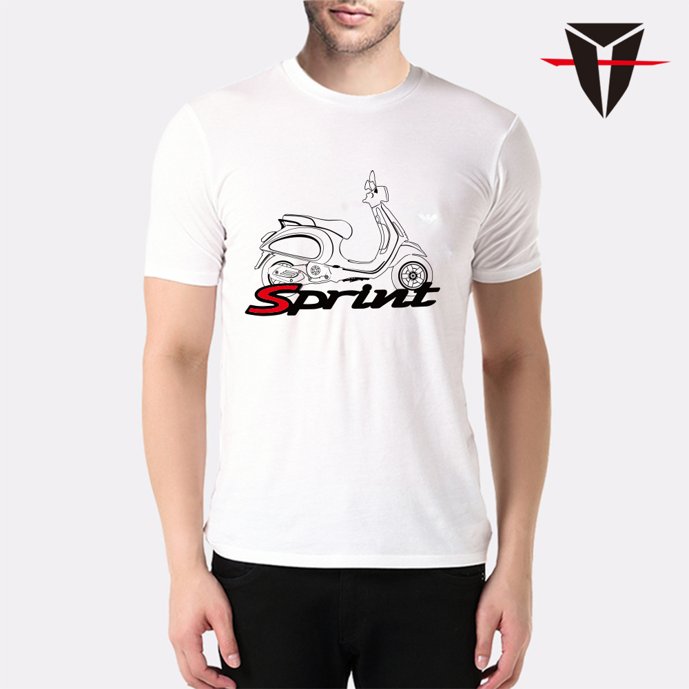 KODASKIN Men 100 Cotton Round Neck Casual Printing Short Sleeve T Shirt for VESPA SPRINT in Shirts Tops from Automobiles Motorcycles
