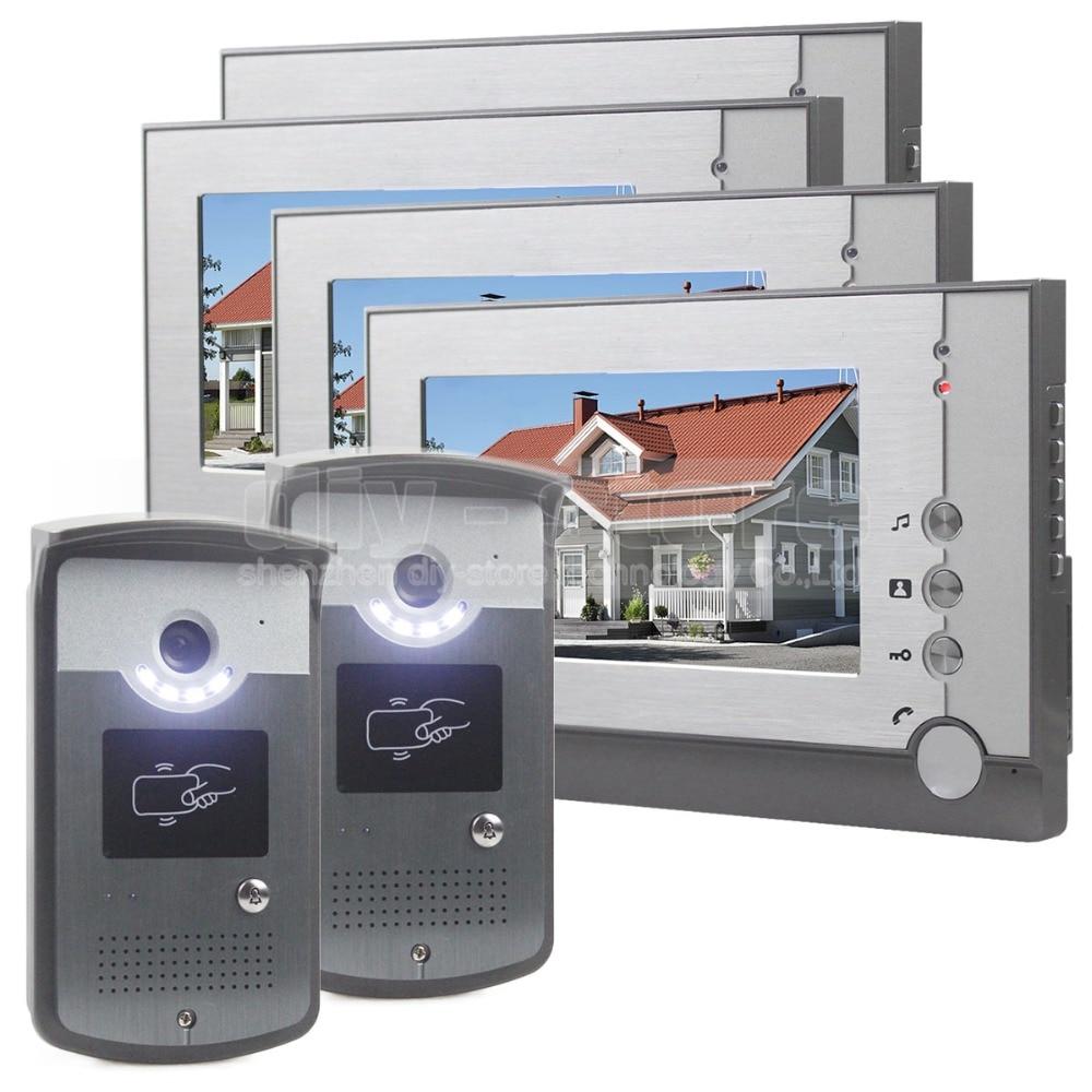 DIYSECUR 7inch Video Door Phone LED Night Vision RFID Unlocking Home Security Intercom System 4 Monitor - 2 Camera