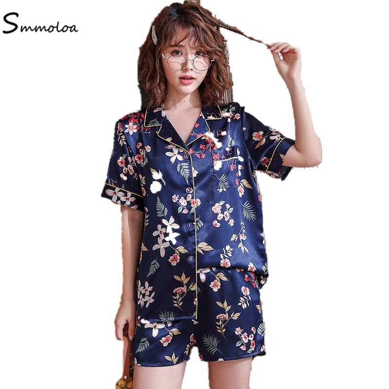 Smmoloa Floral Print Pyjamas Women Silk Short Sleeve Ladies   Pajama     Sets   New Fashion