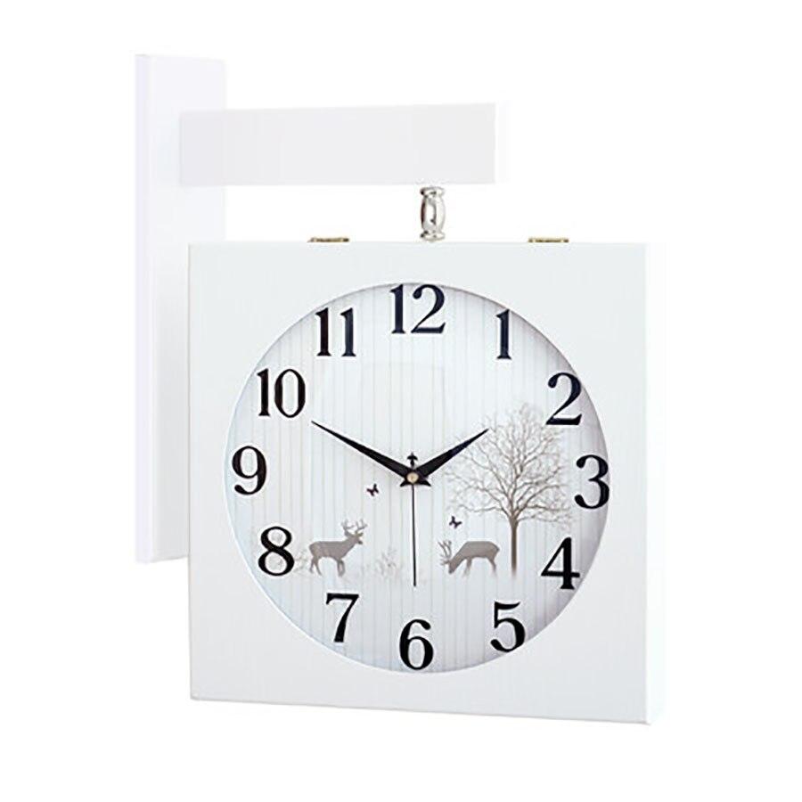 Horloge en bois massif Double face nordique moderne Guess Wome montre mécanisme mode deux côtés mur montres salon décor 50Q328