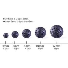 Black Volcanic Lava Beads Lava Stone Beads Round Volcanic-Stone Wholesale Natural Stone Beads for Jewelry Making 4-14mm