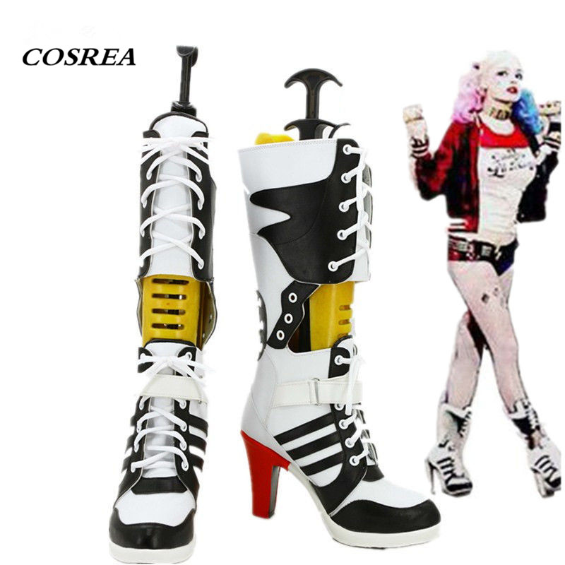 COSREA Movie Suicide Squad Harley Quinn Cosplay Costume Props Middle Heel Boots Shoes Halloween Carnival Party For Adult Woman