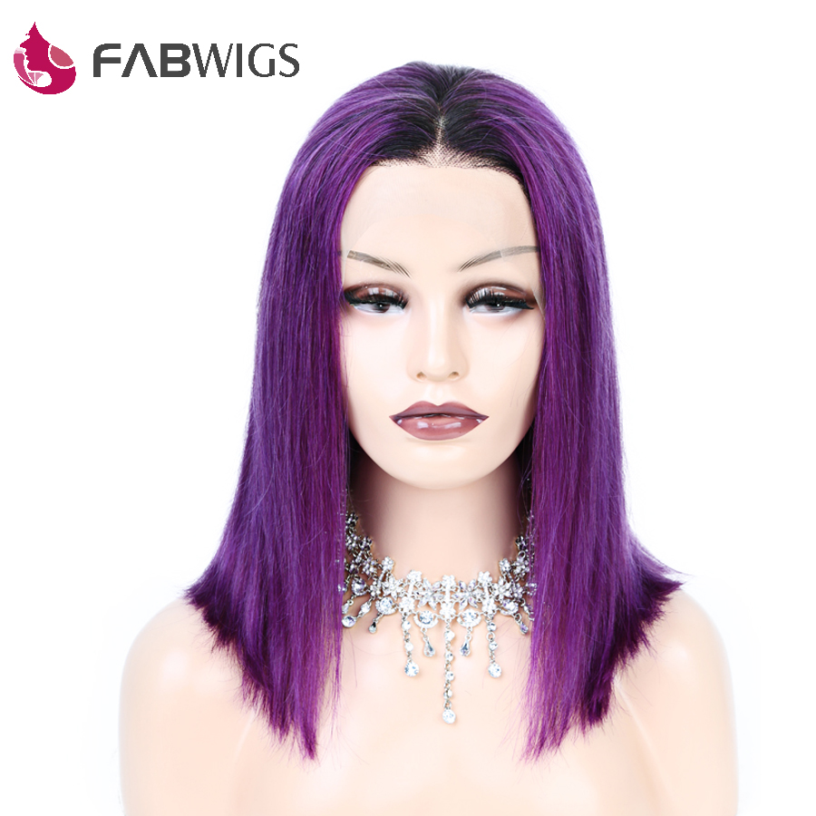 Fabwigs 1B/Purple Lace Front Wigs with Baby Hair 250% Density BoB Wig Brazilian Remy Short Human Hair Wigs