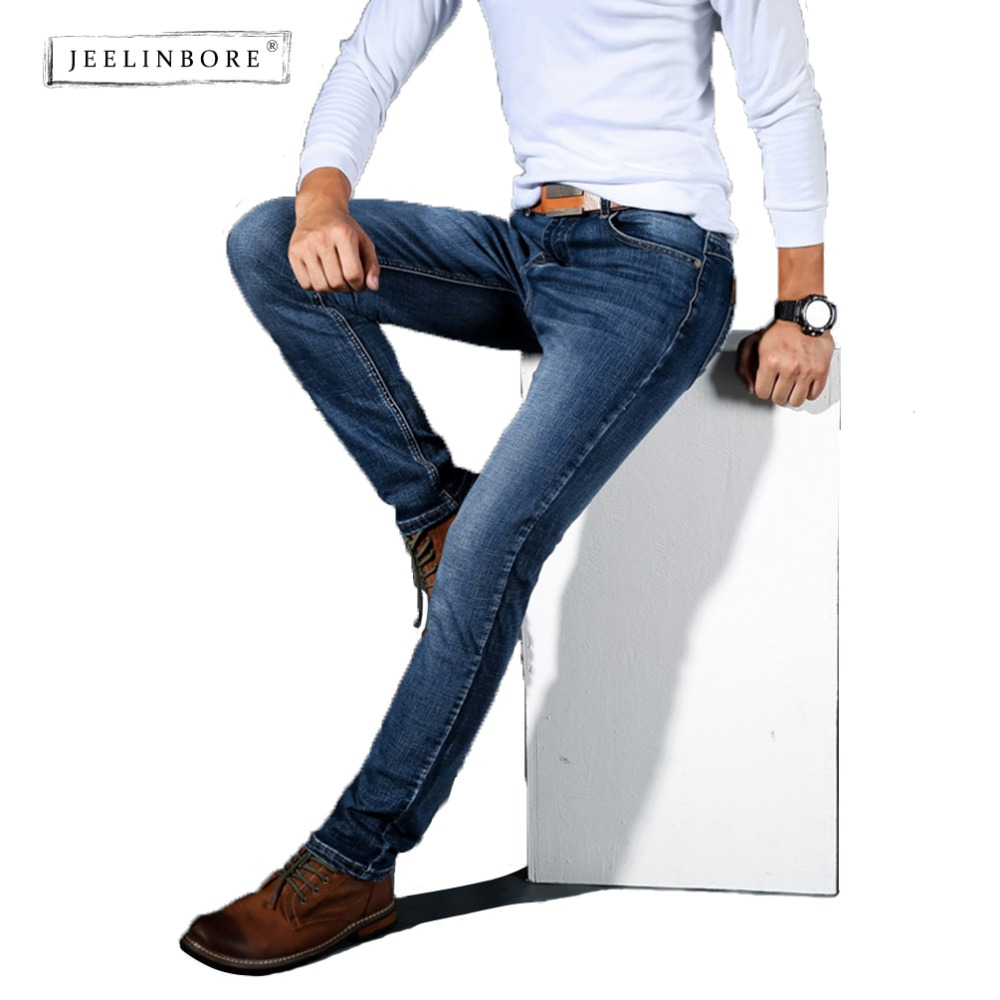 JEELINBORE European American Style Stretch Men Jeans Luxury Mens Denim Trousers Slim Straight Gentleman Mens Stretch
