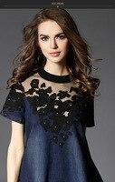 Yeni bahar/yaz 2016 kadın moda gösterisi ince tül nakış bir a-line şekil kısa kollu elbise
