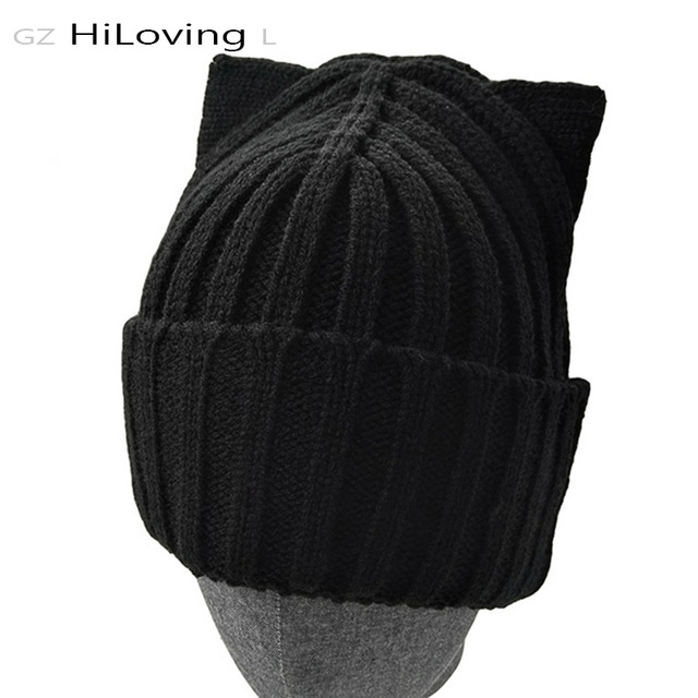 2016 American Fashion Brand Wool Crochet Beanie Knitted Cap Hat Winter Knitted Hat With Cat Ears For Womens Bonnet Hat Skullies