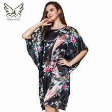 Womens Pyjamas Home Clothes Silk Robe Sleepwear Female Women Dresses Nightgowns Robe Female nightwear Solid color v neck pajamas