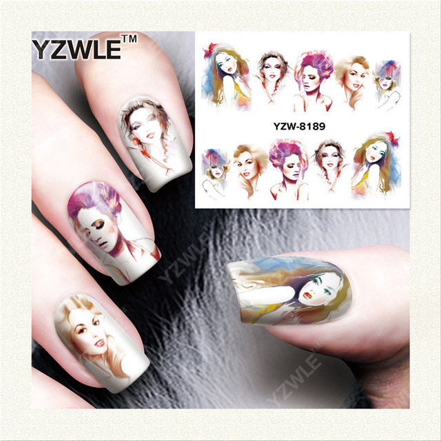 YZWLE 1 Sheet DIY Nails Art Decals Water Transfer Printing Stickers For Manicure Salon YZW-8189
