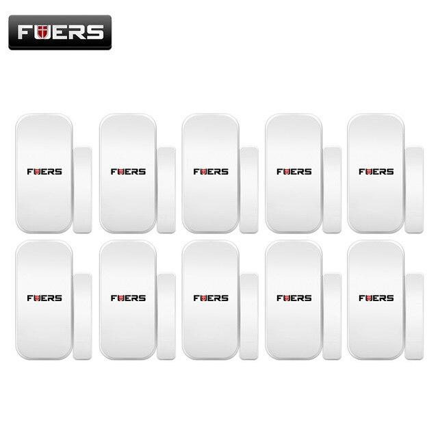 FUERS 433 MHZ 10 pcs/Lot Intelligent sans fil porte Gap fenêtre détecteur de capteur magnétique pour WIFI GSM 3G GPRS système d'alarme