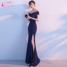 9551b32a2f V Neck Side Slit Longo Sereia vestido de Noite Vestidos de Azul Marinho  Fora Do Ombro