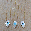 925 Sterling Silver Natural Mother Of Pearl Hamsa Necklace, MOP Shell Hamsa Evil Eye necklace