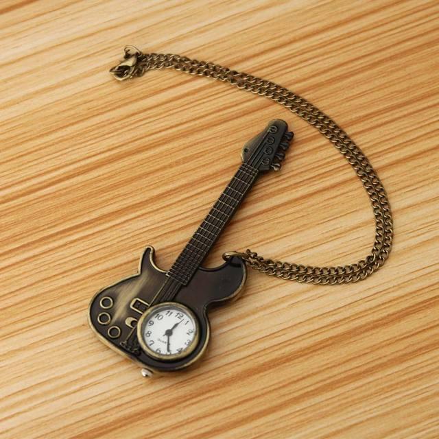 Hot Creative Bronze Guitar Style Quartz Pocket Watch Necklace Watches for Women