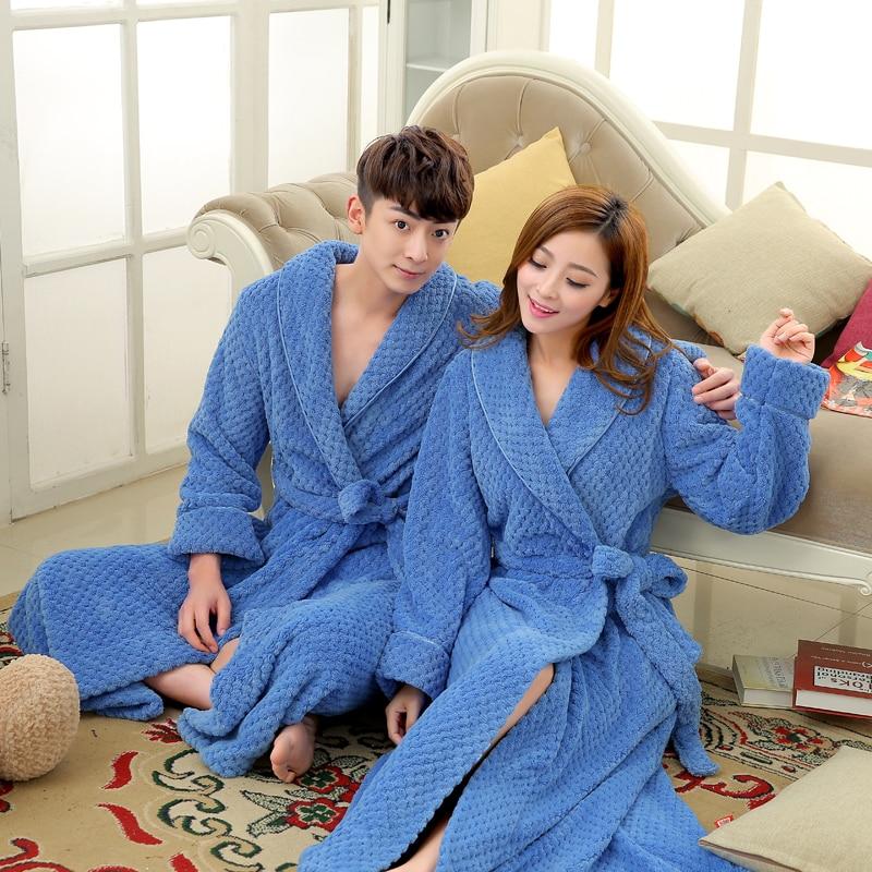 Women Long Thick Warm Winter Super Bath Robe Lovers Kimono Bathrobe Men  Dressing Gown f97305aa3