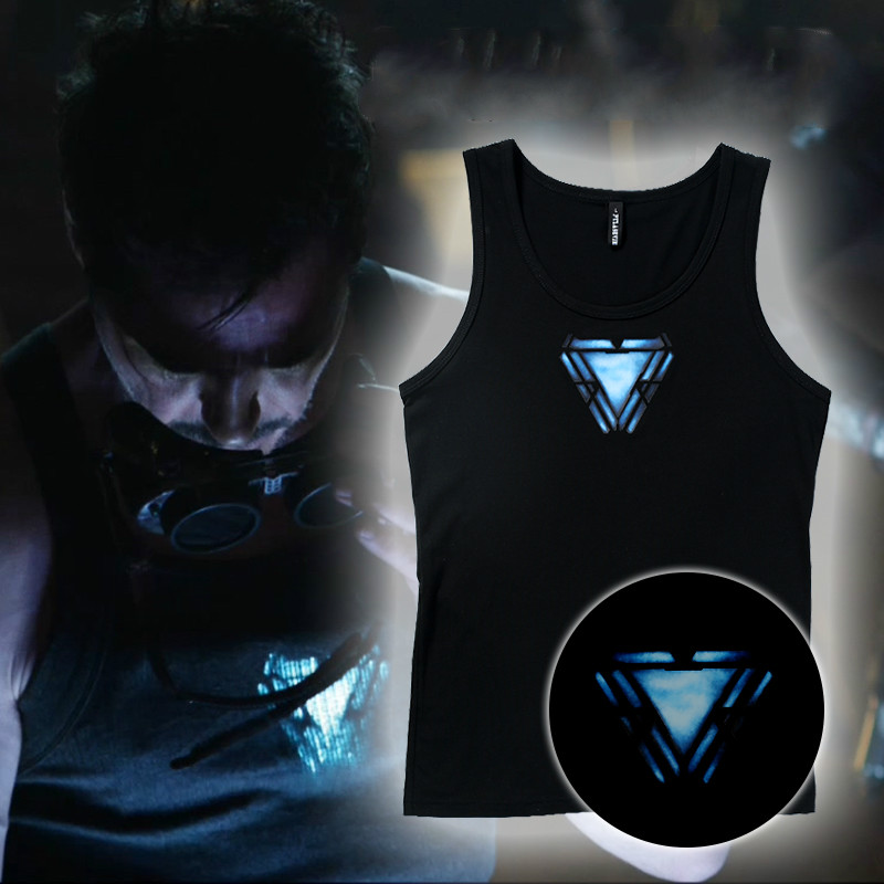 Movie Avengers: Endgame Iron Man Cosplay Tony Luminous Vest Space Reactor Tight Lycra   Tank     Top
