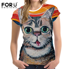 FORUDESIGNS 2019 Harajuku t-shirt Women Tshirt O Neck Tops Tees Femme Cute for Womens Girls Painting Cat shirt Femininas