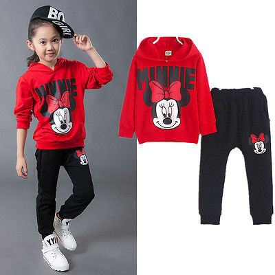 2pcs Baby Girls Kids Minnie Mouse Clothes Set Long Sleeve Hooded Coat Pants Oufits Clothes Set 2-7y #3