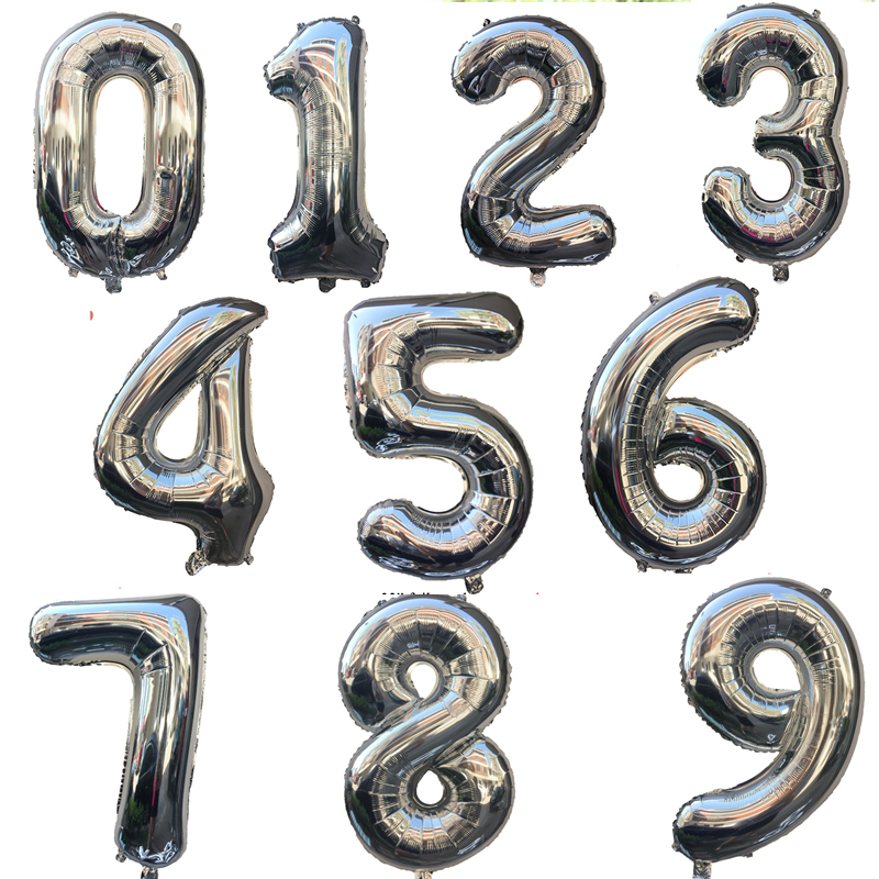 Sliver Big Number Foil Balloons 40inch Digit 18 21 30 40 50 60 <font><b>70</b></font> Baby Shower <font><b>Birthday</b></font> Wedding <font><b>Decoration</b></font> Event Party Supplies image
