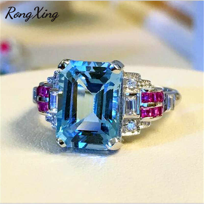 RongXing Ocean Blue Square Stone Luxury Wedding Rings For Women White Gold Filled Birthstone Ring Promise Engagement Jewelry