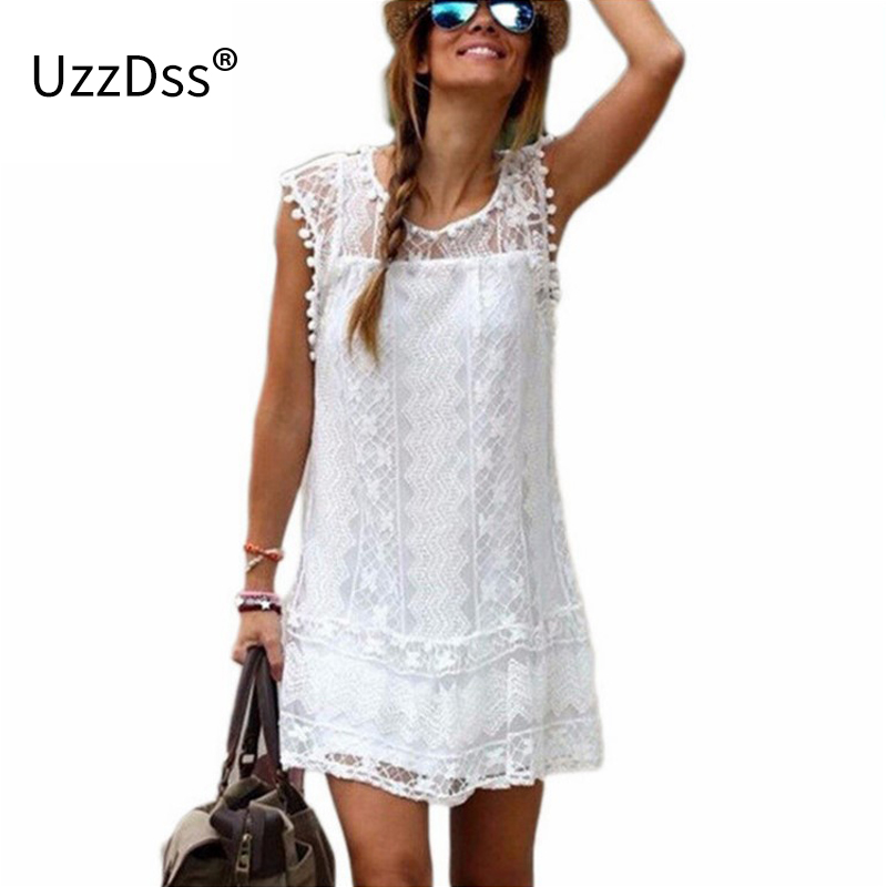 UZZDSS Vestido de Verão 2018 As Mulheres Praia Casual Vestido Curto Borla Preto Branco Mini Vestido de Renda vestidos de Festa Sexy Vestidos S-XXL