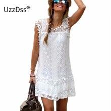 Uzzdss летнее платье 2017 г. Женские повседневные пляжные короткое платье; кисточкой черный, Белый Цвет Мини кружевном платье сексуальное Одежда для вечеринок Vestidos S-XXL