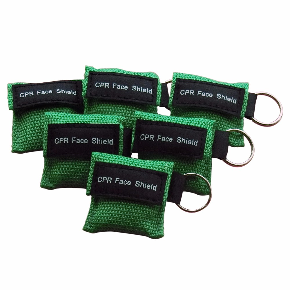 100 pcs CPR Resuscitator Keychain Mask Key Ring Emergency Rescue Face Shield Green new 10pcs pack big first aid cpr rescue face shield mask portable face shield oxygen inlet resuscitator