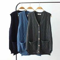 New Casual Sleeveless Sweater Vest for Women Knit Waistcoat V neck Pocket Vintage Button Twist Crochet Cardigans YY8619