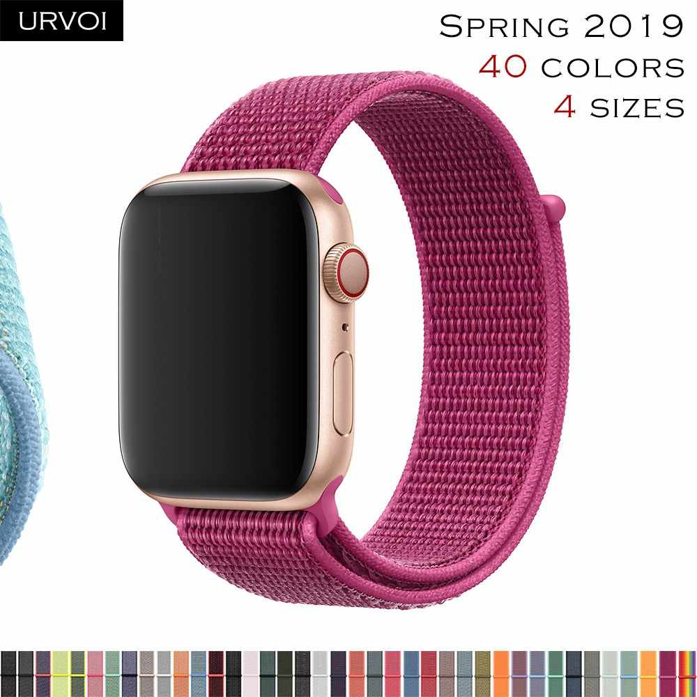 URVOI 2019 Sport loop for apple watch series 4 3 2 1 band for iwatch double-layer breathabe strap woven nylon dragon fruit