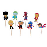 Christmas 24pcs Cake Decoration Avenger Theme Cake Topper with Cake Dessert Wedding Birthday Party Decoration Children's Party