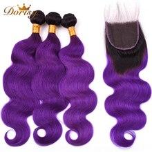 T1b Фиолетовый Ombre Перуанский объемная волна Пучки с закрытием Пучки человеческих волос