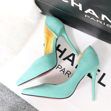 Ou Mo brand high quality 11cm High heels women sandals Solid color pointed toe Suede wedding Female shoes