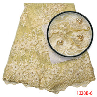 New French Laces Fabric Champagne Gold Nigeria Wedding African Tulle Lace Pearls High Quality Party Dress