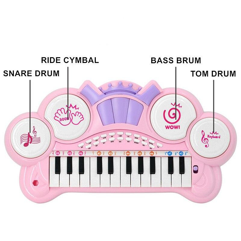 Juguetes instrumento Musical Mini micrófono Piano iluminación efectos de sonido reproducción Multimedia 1-6 años educación del bebé Pianoforte - 3