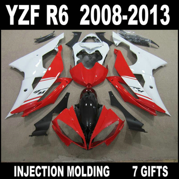 Hot sale Injection molding for YAMAHA R6 fairing kit 08 09 10 11 12 13 fairings 2008 - 2013 YZF R6 red white glossy flat black