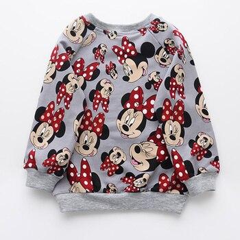 Girls Sweatshirt Full Cartoon Minnie Printed Autumn Long Sleeve Tops Cute Cat Children Sweatshirts Toddler Kids Mickey Shirts
