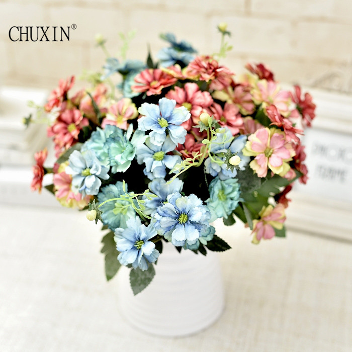 15 heads two colors silk chrysanthemum artificial Flower bouquet for ...