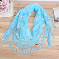 Hot Sale Fashion Hollow Tassel Lace printing Floral Knit Triangle Mantilla Scarf Women Shawl Wrap scarves 45 x 145 cm YX04