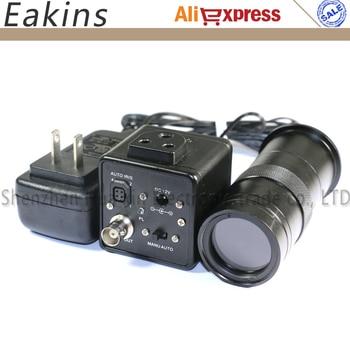 800TVL CCD Digital Microscope BNC Output Industrial Camera Auto IRIS + 100X zoom C-mount Lens
