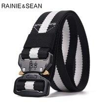 купить RAINIE SEAN Tactical Belt Men Striped Nylon Belt Male Release Buckle Black Military Equipment Army Belt Men Tactical Designer дешево
