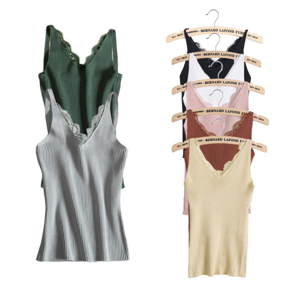 Sexy Women Plain Camisole Lace Splicing Double V-neck Vest Slim Sling   Tank     Tops