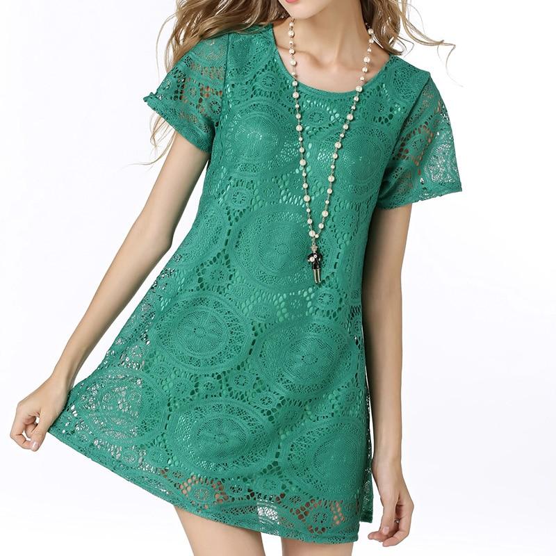Moda femenina estilo del tamaño grande de verano una línea de manga corta dress