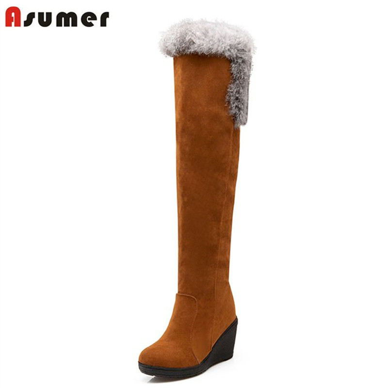 Asumer High quality women snow boots round toe high heels platform wedges over the knee high boots thick fur warm winter shoes winter warm snow boots cotton shoes flat heels knee high boots women boots wholesale high quality