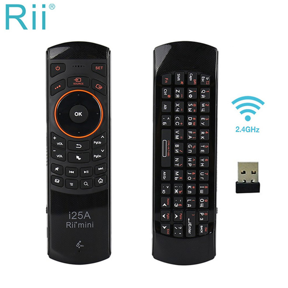 [Genuine] Rii I25/i25A 2.4Ghz Mini Wireless Keyboard English/Russian Fly Air Mouse With Earphone Jack For Mini PC/Android TV Box