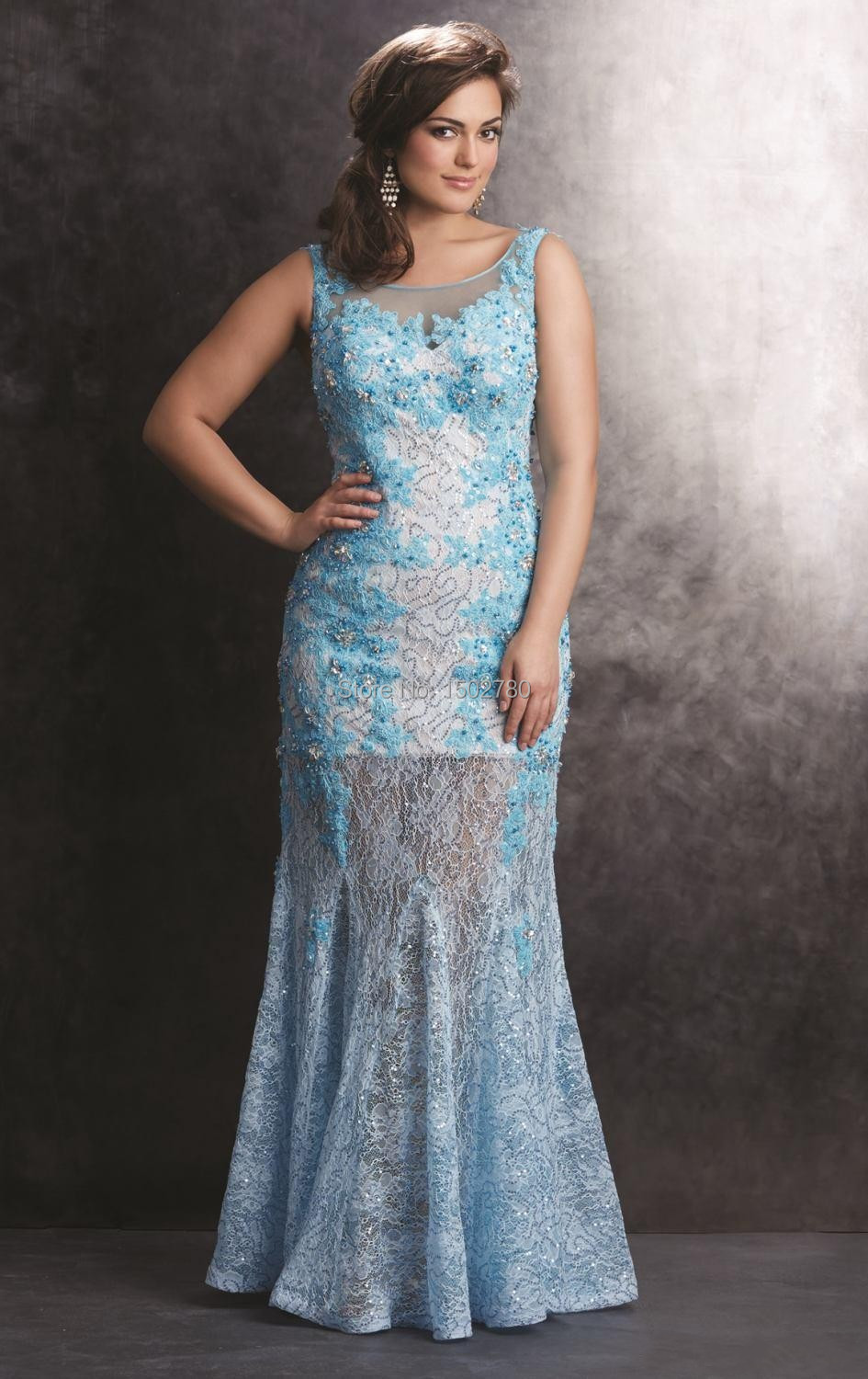 Blue Appliques Maxi Prom Dresses For Chubby Girls Low Back ...
