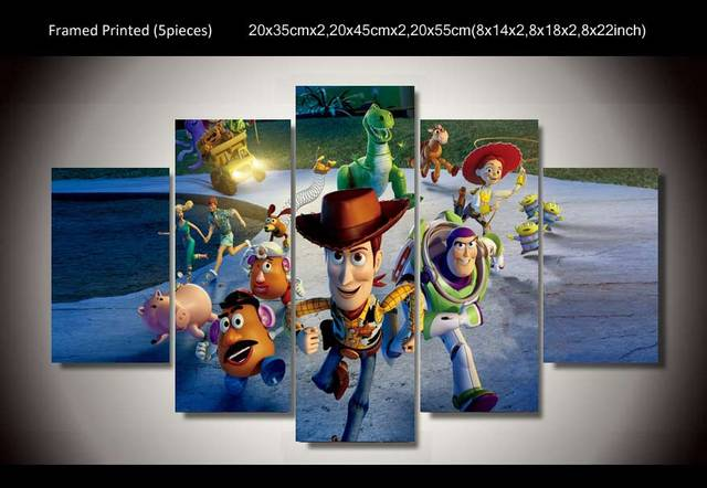 HD Printed 5 pieces toy story Painting room decoration print ...