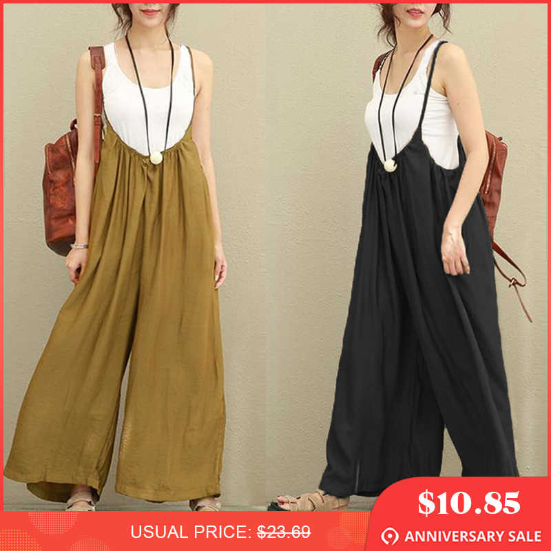 4e5aa4c22a 2018 New ZANZEA Women Overalls Rompers Plus Size S-5XL Sleeveless Dungarees  Long Trousers Wide