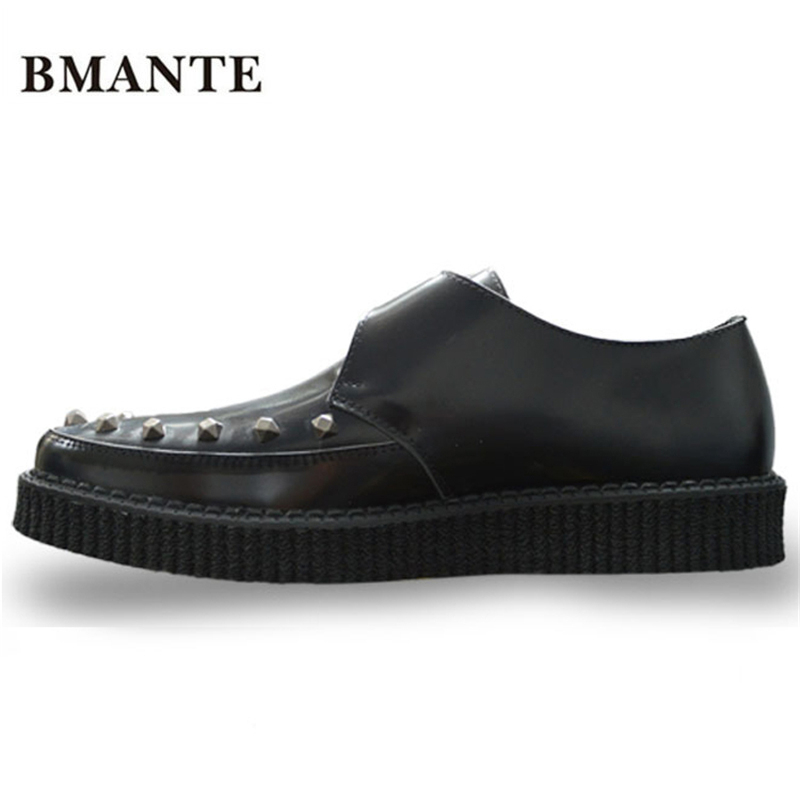 Real leather Men Famous brand gold silver Male Thick sole chaussure Flatform Creepers Elevator with Harajuku platform shoe men camino real gold купить грн
