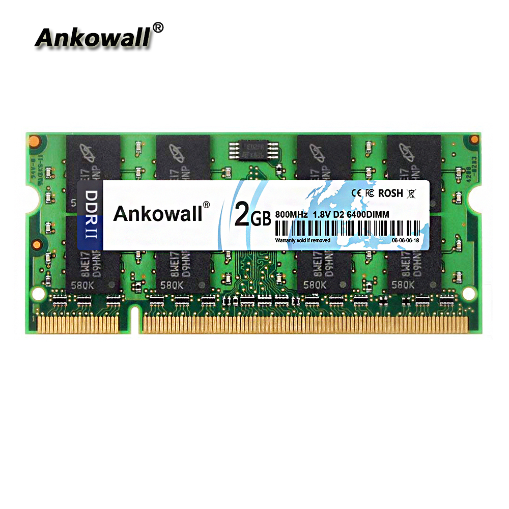 Ankowall DDR2 SO-DIMM PC2-6400 2 GB RAM 800 MHz de Memória Notebook Laptop RAM