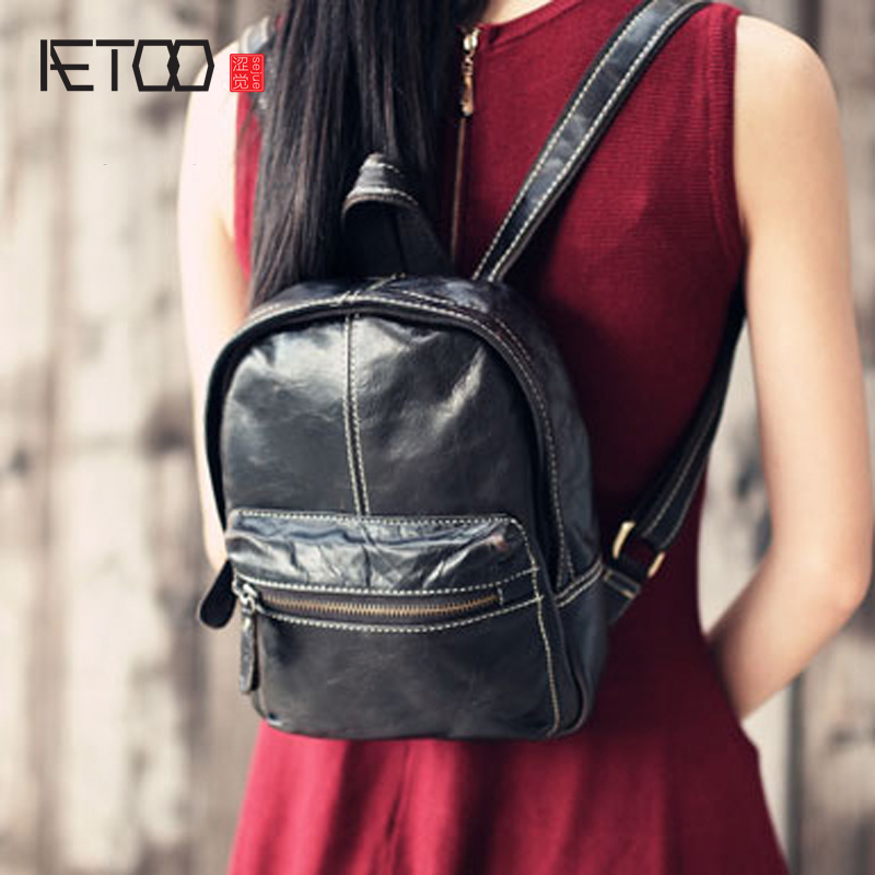 AETOO Retro head layer cowhide mini backpack leather bag travel casual backpacks women anti-theft design mini satchel retro women s satchel with engraving and fringe design
