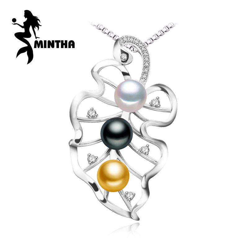 MINTHA 925 sterling silver pendants white black golden Pearl necklace , fine jewelry pearl accessories necklaces women for love